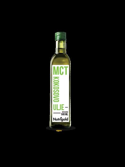 Nutrigold MCT kokosovo ulje u staklenoj ambalaži od 500 ml.