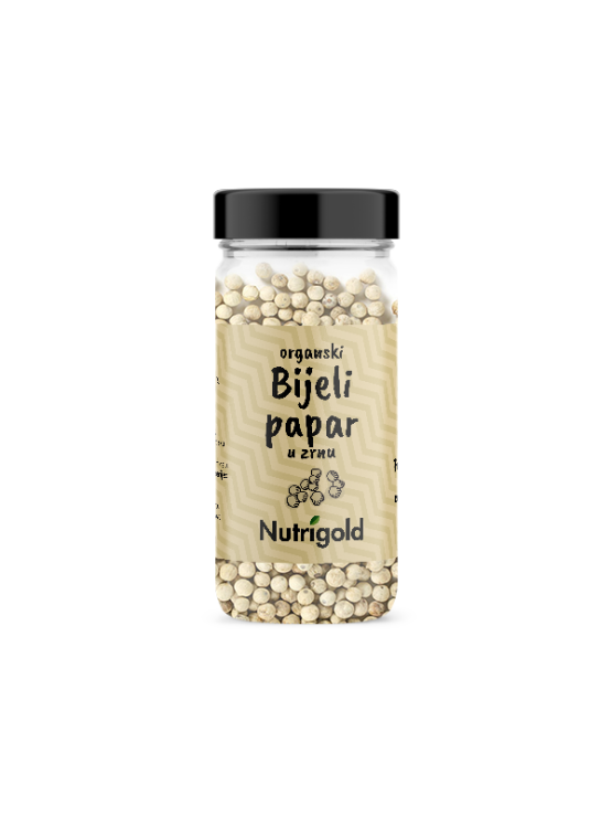 Nutrigold organic white peppercorns in a transparent glass container of 50 grams