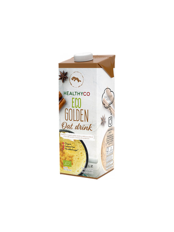 Golden oat drink with turmeric in colorful cardboard packaging of 1000ml HealthyCo