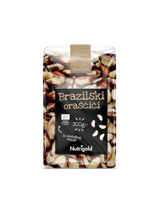 Organic Nutrigold Brazil nuts in transparent packaging of 500 grams