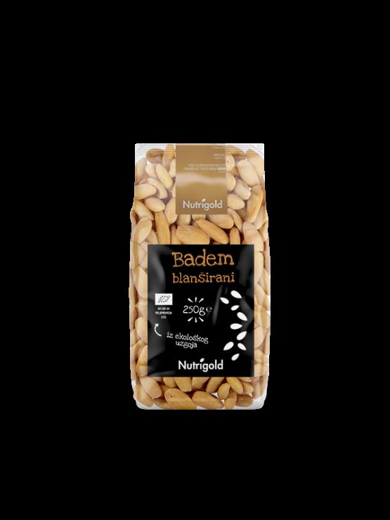 Nutrigold organski blanširani badem u prozirnoj ambalaži 250 grama