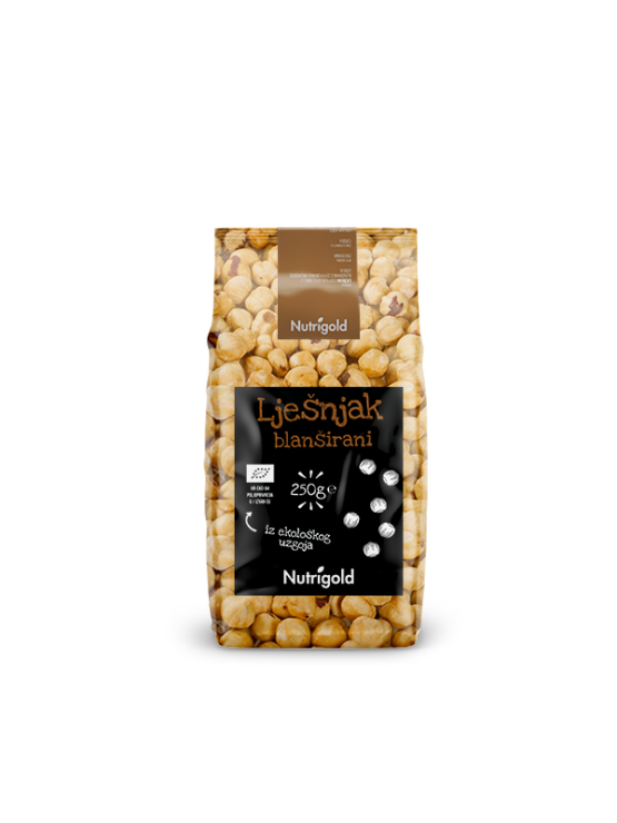 Nutrigold Organic Blanched Hazelnuts in a transparent bag of 250 grams