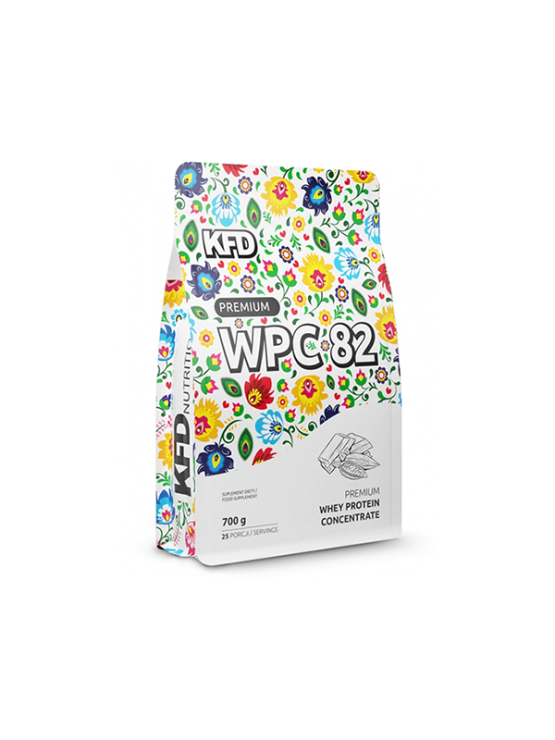 KFD chocolate flavoured WPC premium protein in a 700g bag