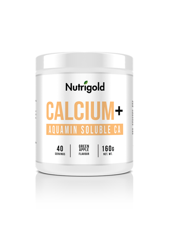 Nutrigold kalcij u prahu s okusom zelene jabuke u bijeloj ambalaži od 160g