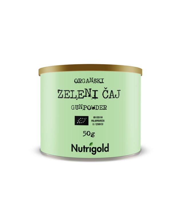 Nutrigold organski gunpowder zeleni čaj u zelenoj tubastoj ambalaži od 50g