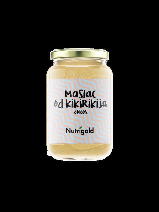 Nutrigold smeđi maslac od kikirikija s dodatkom kokosa u staklenoj ambalaži od 300 grama.