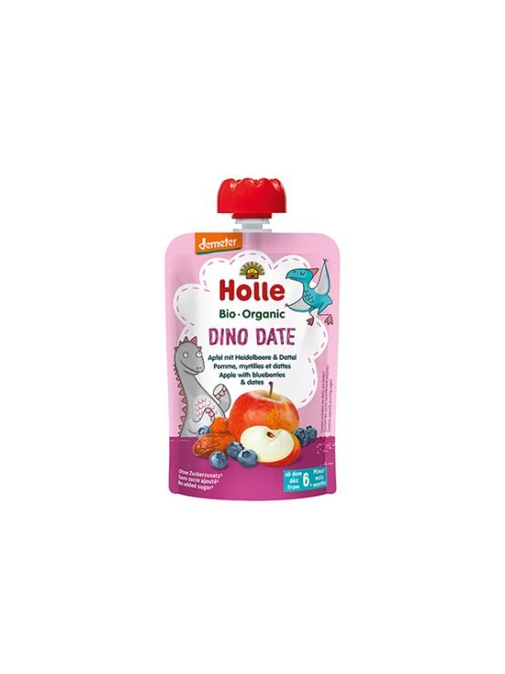 Organic Holle apple, blueberry and date purée in a resealable pouch of 100g