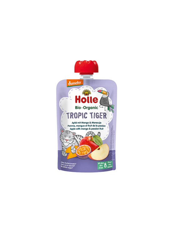 Organic Holle apple, mango and passion fruit purée in a resealable pouch 100g