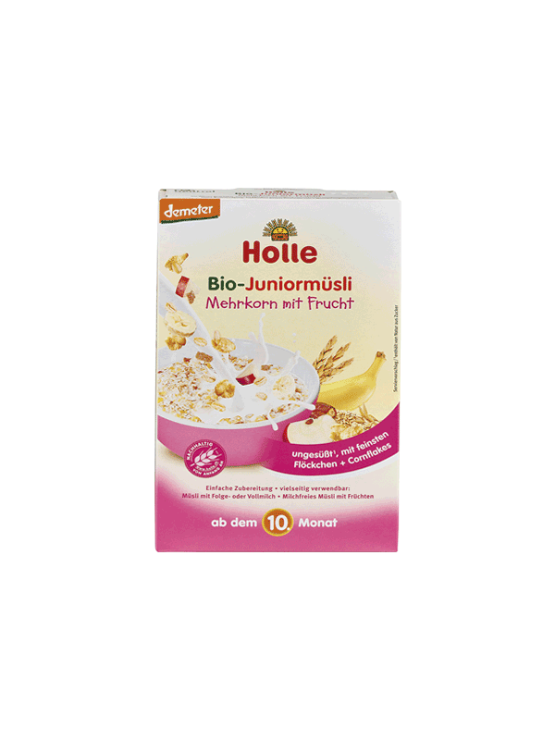 Organic Holle junior cornflakes muesli with fruit in a cardboard packaging of 250g