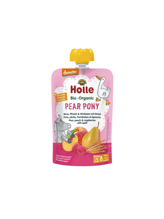 Organic Holle pear, peach and raspberry purée with spelt in a resealable pouch 100g