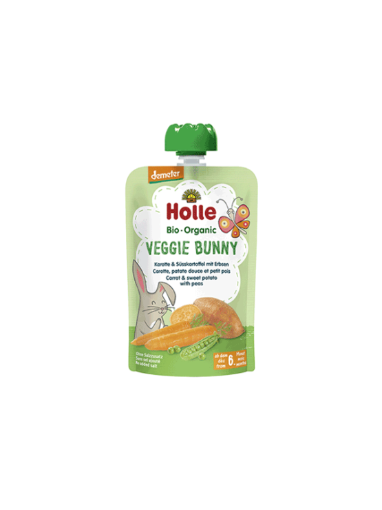 Organic Holle carrot, sweet potato and pea purée in a resealable pouch 100g