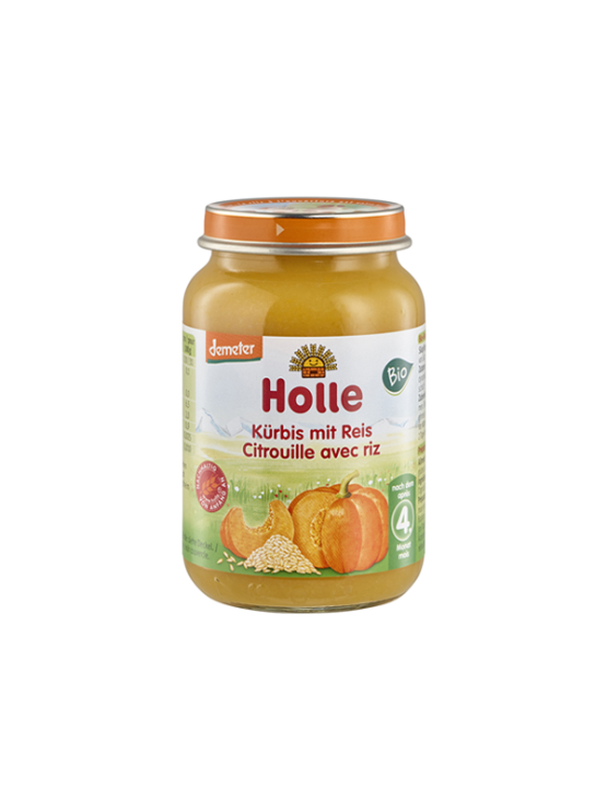 Organic Holle pumpkin and rice purée in a glass jar of 190g