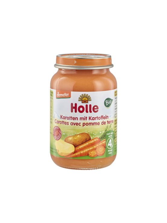 Organic Holle carrot and potato purée in a glass jar of 190g