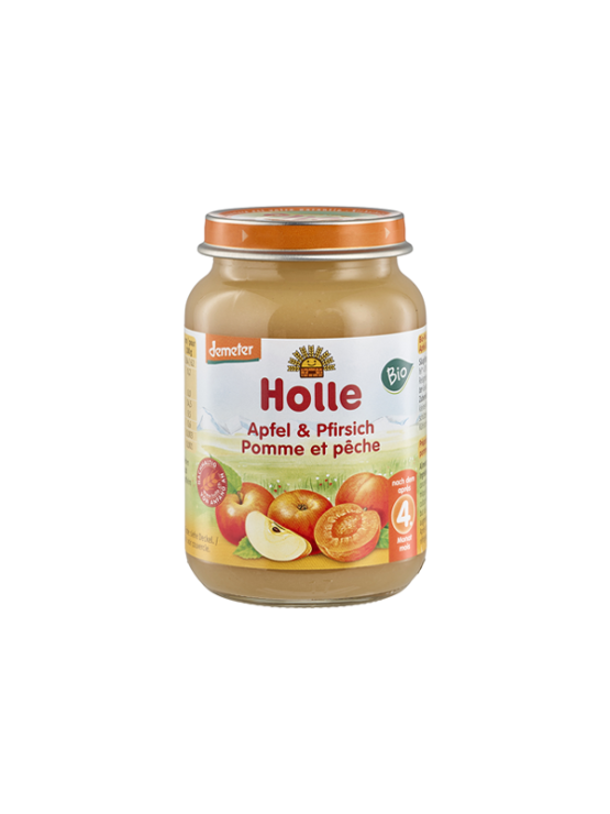 Organic Holle apple and apricot purée in a glass jar of 190g