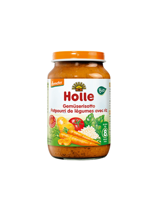 Organic Holle mixed vegetables and rice purée in a glass jar of 220g