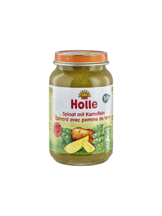 Organic Holle spinach and broccoli purée in a glass jar of 190g