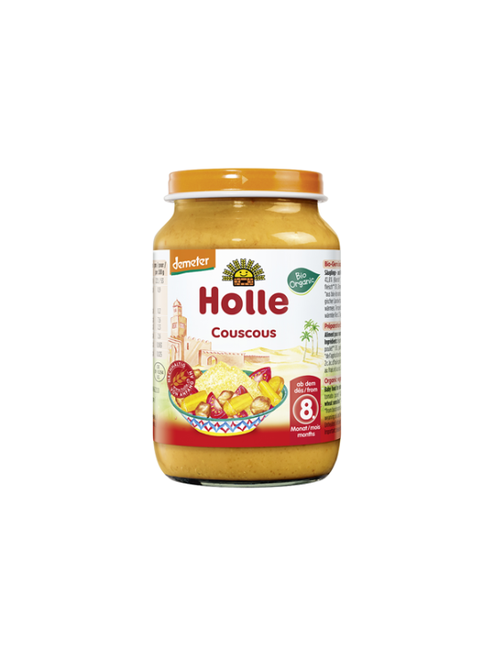 Organic Holle vegetables and couscous purée in a glass jar of 220g