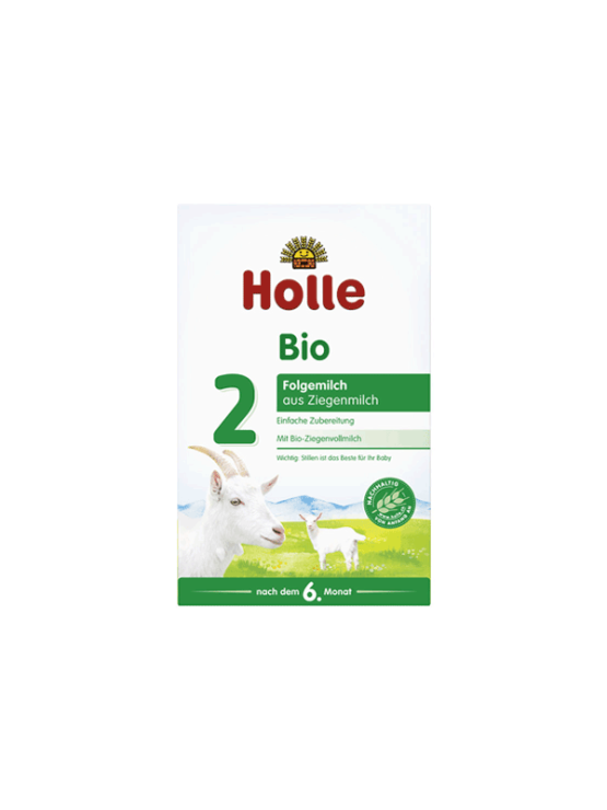 Holle organic follow on goat's milk powder in a rectangular cardboard packaging of 400g