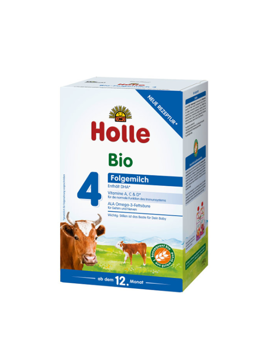 Holle infant follow on formula 4 in cardboard rectangular box