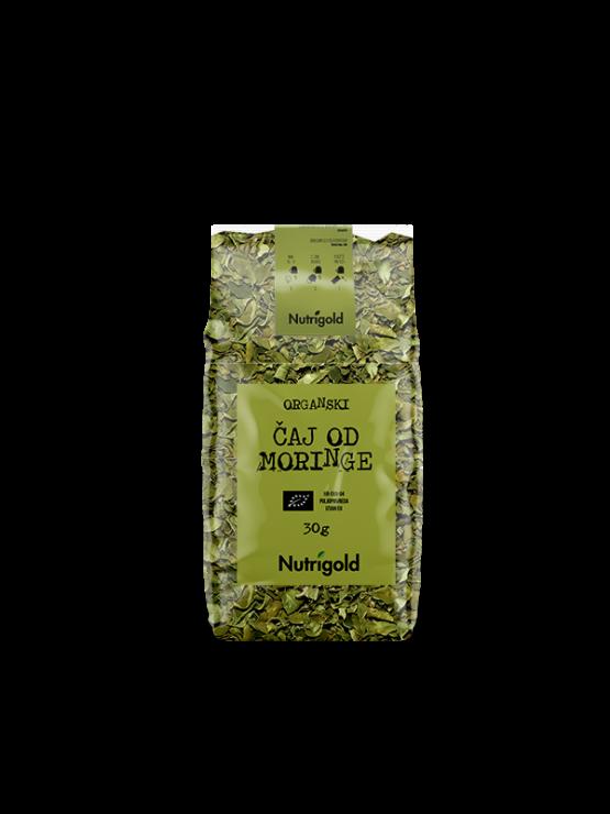 Nutrigold organic moringa tea in transparent 30g packaging