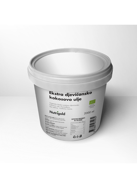 Nutrigold extra virgin cold pressed coconut oil in a 2000 ml plastic container