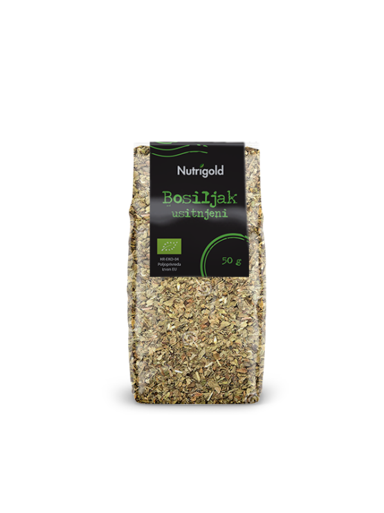 Nutrigold organic dried basil in a transparent package of 50 grams