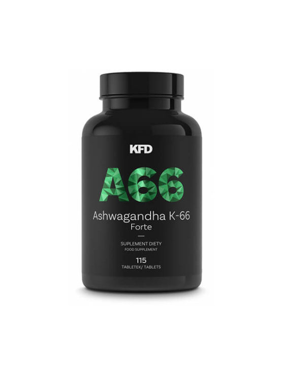 Ashwagandha K-66+ Forte 115 Tablets - KFD Nutrition in a plastic container