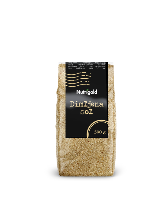 Nutrigold 500g smoked salt in transparent plastic packaging