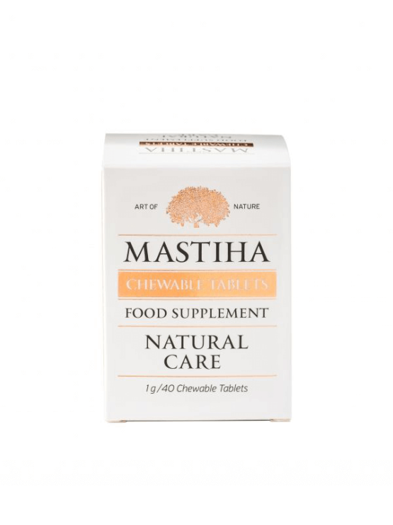 Chios Mastiha chewable tablets in a white plastic container of 40 grams