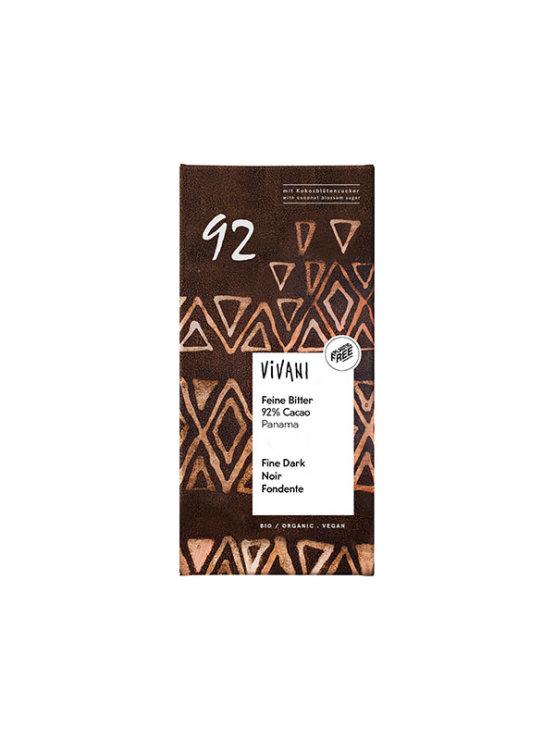Vivani organic 80 grams strong dark chocolate in brown environmentally conscious cover
