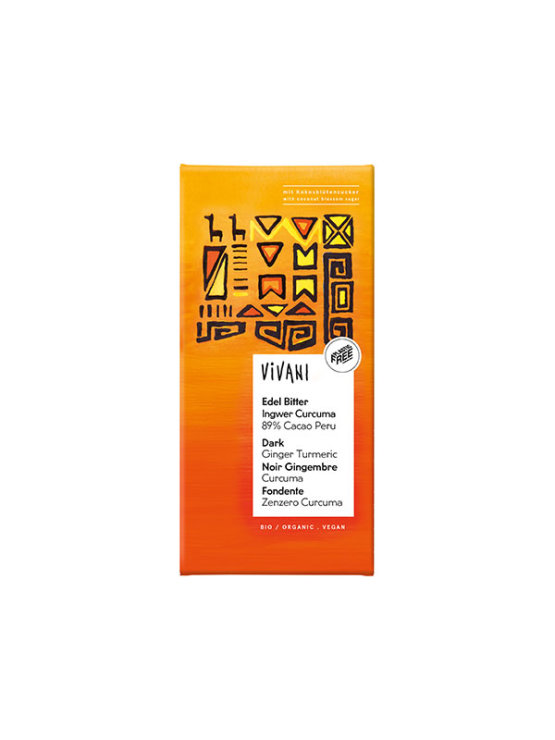 Vivani organic ginger and turmeric 89% chocolate of 80 grams in orange environmentally conscious cover