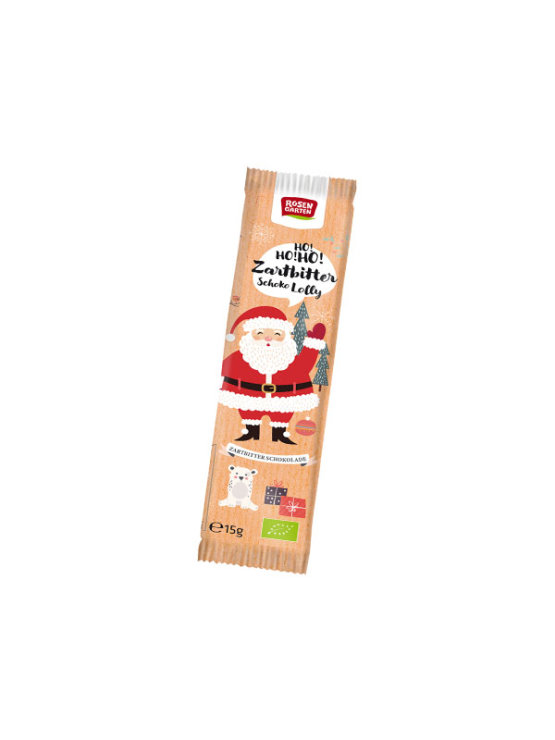 Rosengarten Santa Claus shaped chocolate on a stick in a colorful cover of 15g
