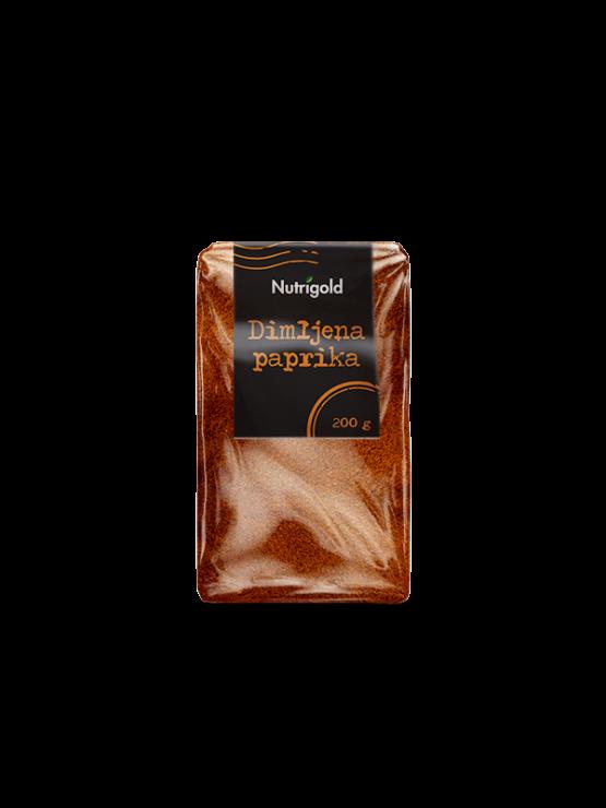 Nutrigold smoked paprika powder in transparent packaging of 200 grams