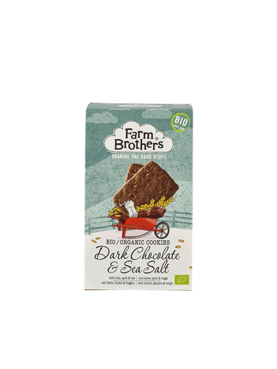 Farm Brothers oats, spelt and rye cookies dark chocolate and sea salt in cardboard packaging of 150g