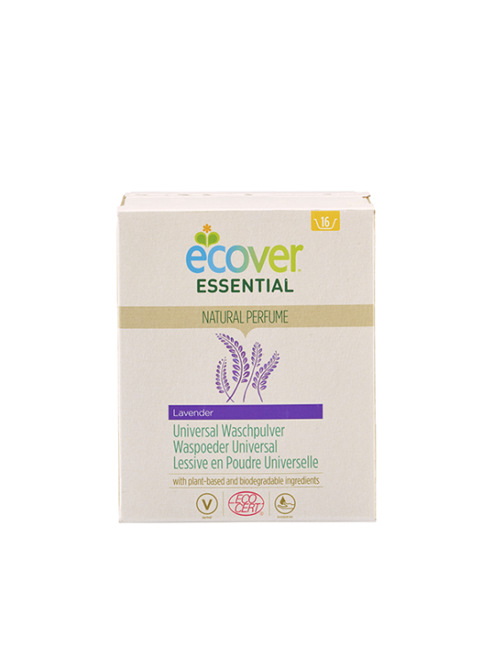 Ecover universal lavender laundry washing powder in biodegradable packaging of 1,2kg