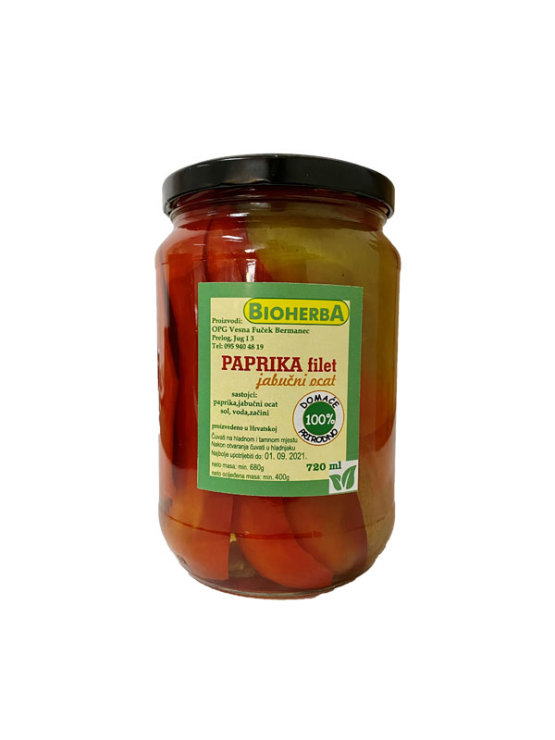 BioHerba bell pepper fillets with apple cider vinegar in a glass jar of 720ml