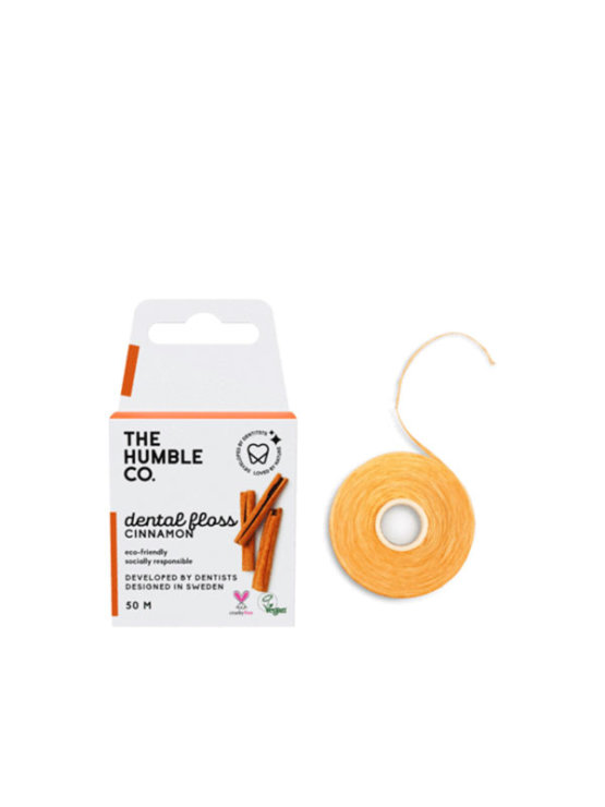 Humble Co. 50 meter cinnamon dental floss in biodegradable cardboard packaging