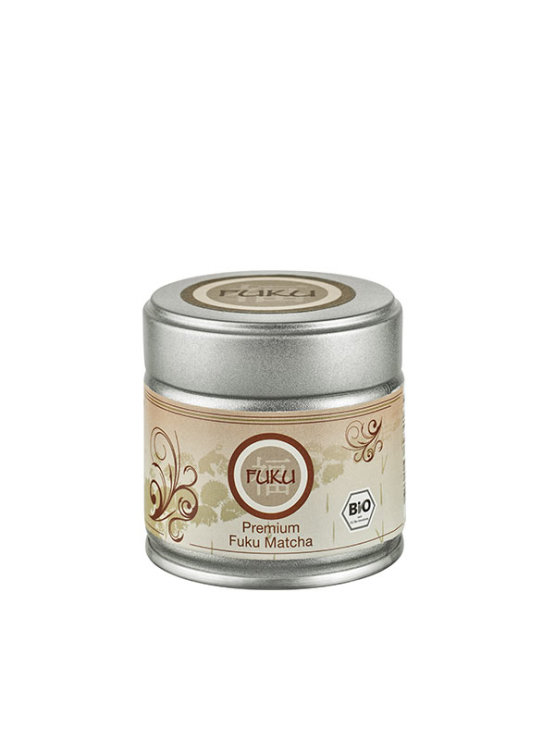 Fuku premium matcha tea powder in a tin packaging of 30g