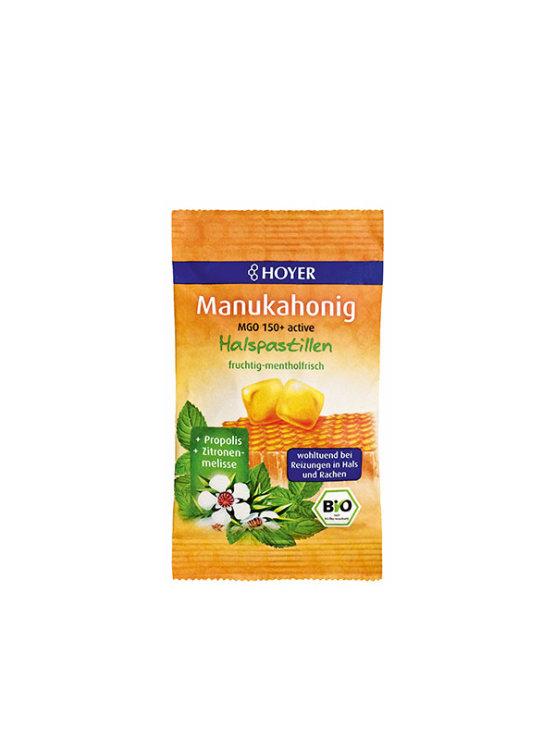 Hoyer manuka honey throat pastilles in a colourful bag 30g