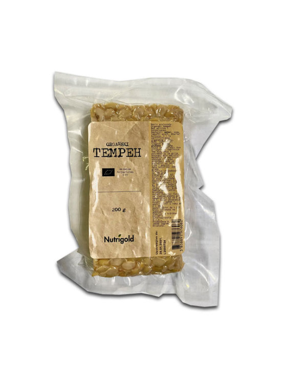 Nutrigold organic tempeh in transparent vacuum sealed packaging of 200g
