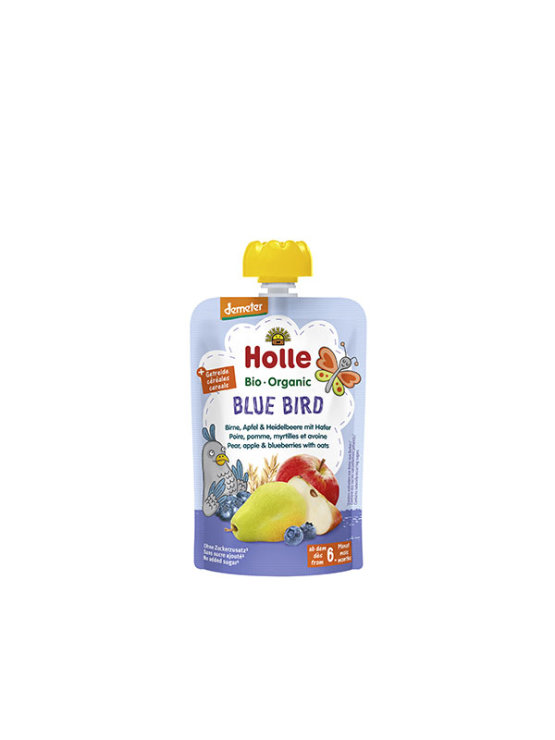 Organic Holle pear, apple and blueberry purée with oats in a resealable pouch 100g