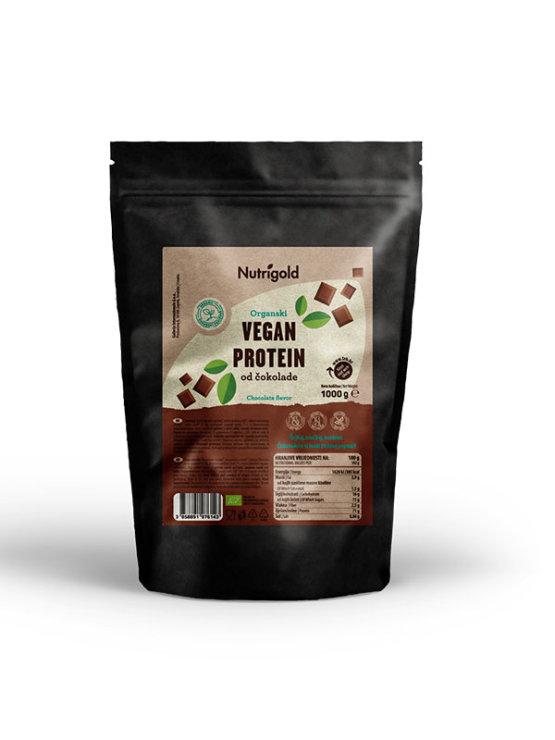 Organic Nutrigold vegan protein powder chocolate in resealable dark packaging 1000g