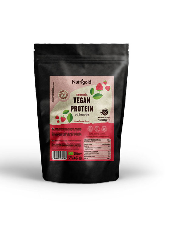 Organic Nutrigold vegan protein powder strawberry in resealable dark packaging 1000g