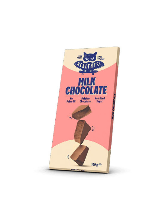 HealthyCo milk chocolate without added sugar in a recyclable packaging of 100g