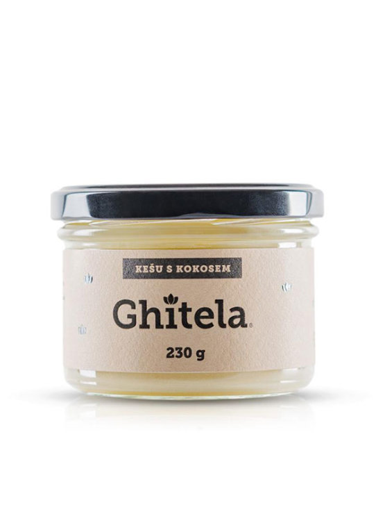 Ghitela cashew and coconut spread in a glass jar of 230g