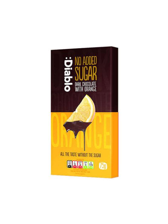 Diablo orange flavoured dark chocolate with no added sugar in a packaging of 75g