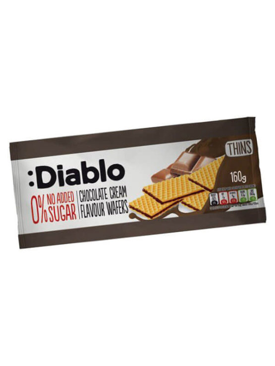 Diablo 0% sugar chocolate wafers in a packaging of 160g