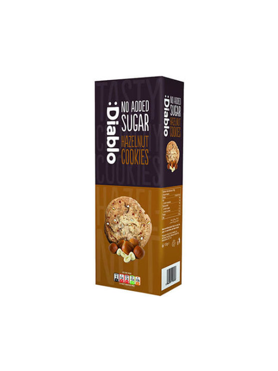 Diablo hazelnut cookies with no added sugar in a cardboard packaging of 135g