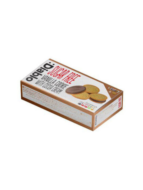 Diablo sugar free vanilla sandwich cookies with cocoa cream in a cardboard box of 176g