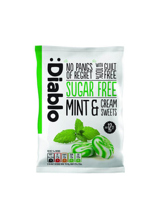 Diablo sugar free mint and cream sweets in a plastic bag 75g